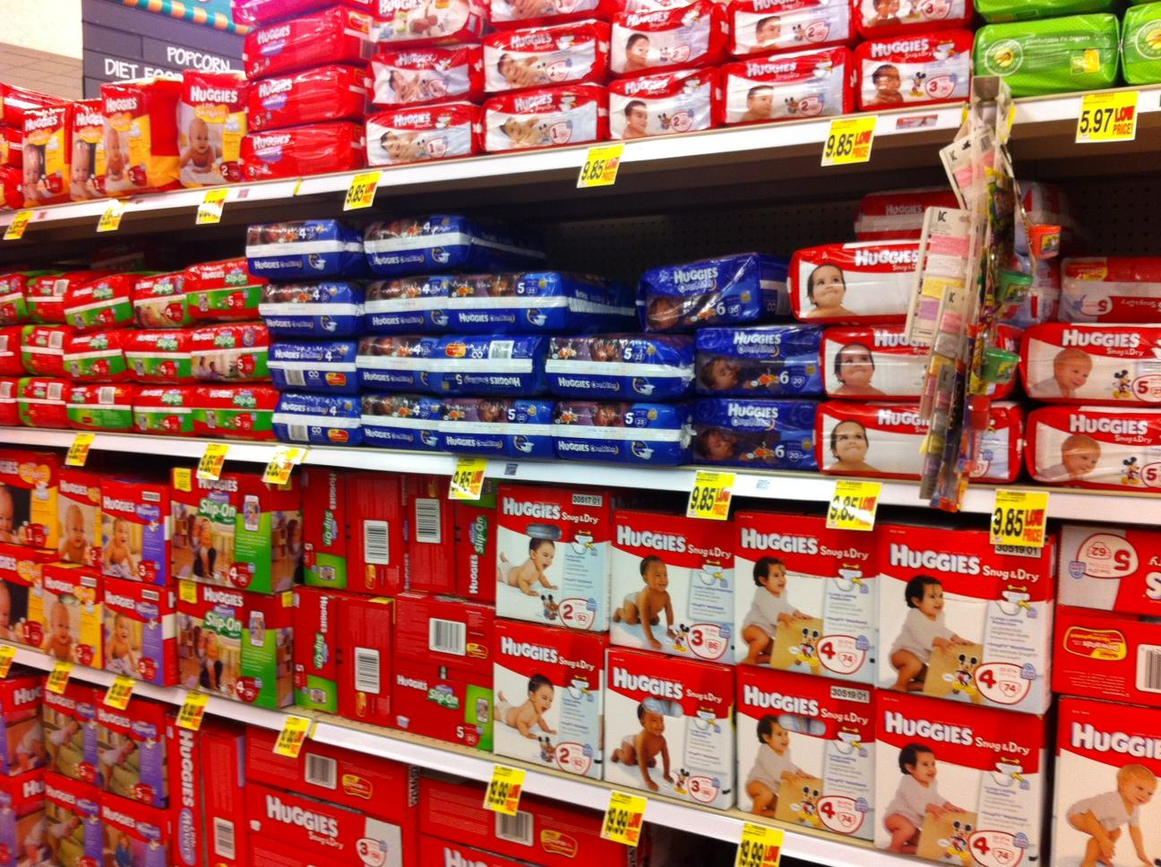 Row of Diapers at Grocery Store